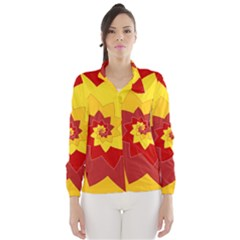 Flower Blossom Spiral Design  Red Yellow Wind Breaker (Women)