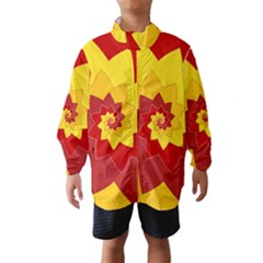 Flower Blossom Spiral Design  Red Yellow Wind Breaker (Kids)