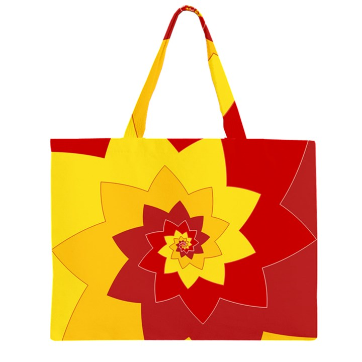 Flower Blossom Spiral Design  Red Yellow Large Tote Bag