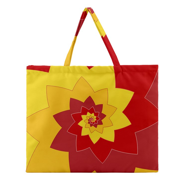 Flower Blossom Spiral Design  Red Yellow Zipper Large Tote Bag