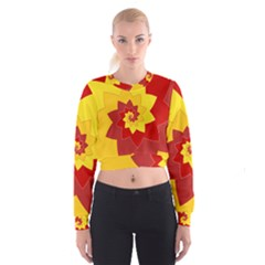 Flower Blossom Spiral Design  Red Yellow Women s Cropped Sweatshirt