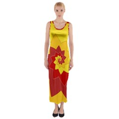 Flower Blossom Spiral Design  Red Yellow Fitted Maxi Dress