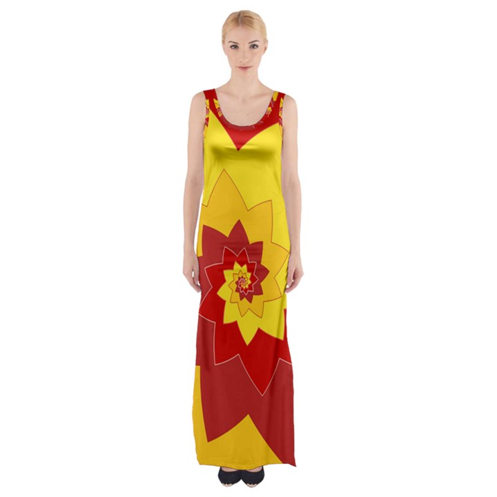 Flower Blossom Spiral Design  Red Yellow Maxi Thigh Split Dress