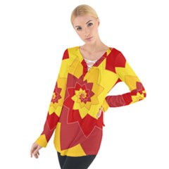 Flower Blossom Spiral Design  Red Yellow Women s Tie Up Tee