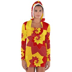 Flower Blossom Spiral Design  Red Yellow Women s Long Sleeve Hooded T-shirt