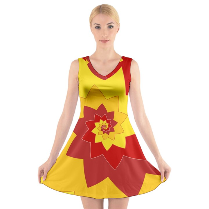 Flower Blossom Spiral Design  Red Yellow V-Neck Sleeveless Skater Dress