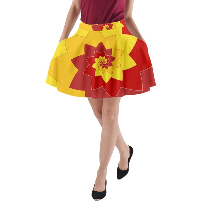 Flower Blossom Spiral Design  Red Yellow A-Line Pocket Skirt