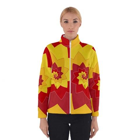 Flower Blossom Spiral Design  Red Yellow Winterwear