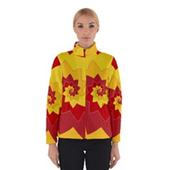 Flower Blossom Spiral Design  Red Yellow Winterwear