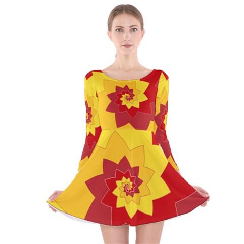 Flower Blossom Spiral Design  Red Yellow Long Sleeve Velvet Skater Dress