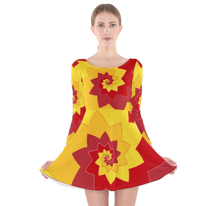 Flower Blossom Spiral Design  Red Yellow Long Sleeve Velvet Skater Dress
