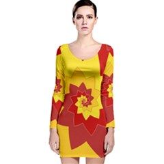Flower Blossom Spiral Design  Red Yellow Long Sleeve Velvet Bodycon Dress