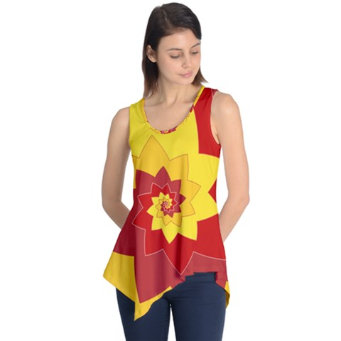 Flower Blossom Spiral Design  Red Yellow Sleeveless Tunic