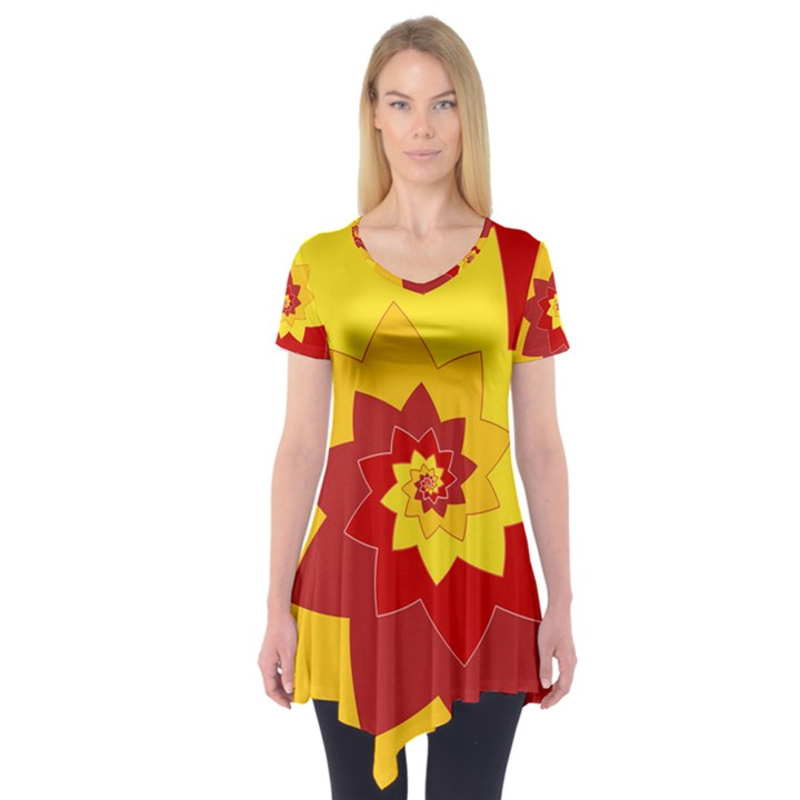 Flower Blossom Spiral Design  Red Yellow Short Sleeve Tunic