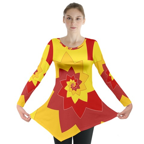 Flower Blossom Spiral Design  Red Yellow Long Sleeve Tunic