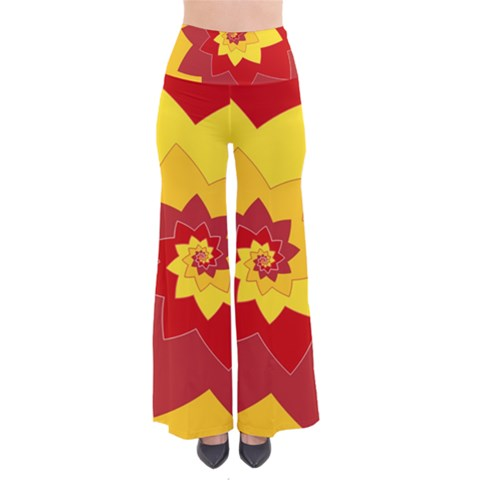 Flower Blossom Spiral Design  Red Yellow Pants