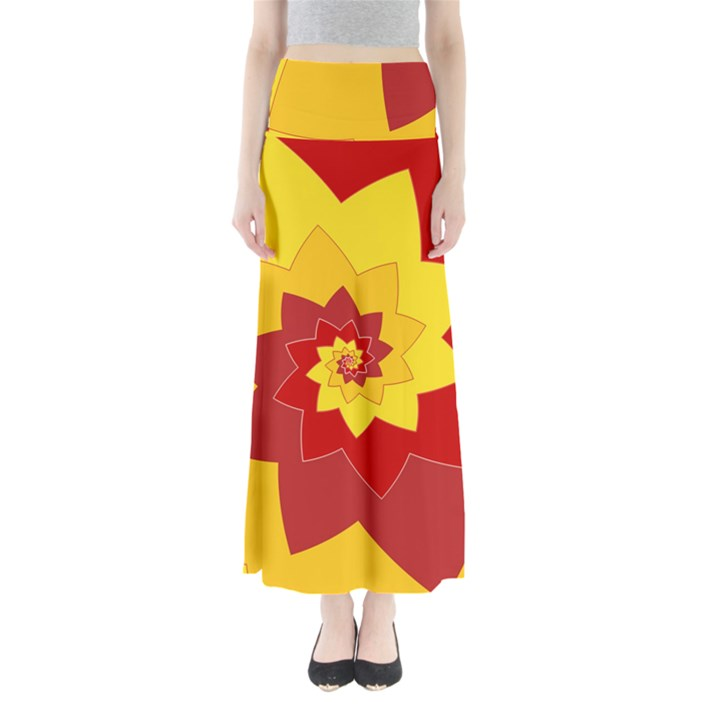 Flower Blossom Spiral Design  Red Yellow Women s Maxi Skirt