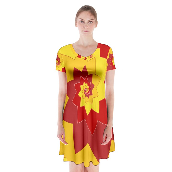 Flower Blossom Spiral Design  Red Yellow Short Sleeve V-neck Flare Dress