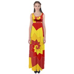 Flower Blossom Spiral Design  Red Yellow Empire Waist Maxi Dress