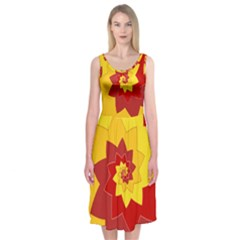 Flower Blossom Spiral Design  Red Yellow Midi Sleeveless Dress
