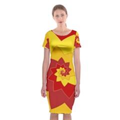 Flower Blossom Spiral Design  Red Yellow Classic Short Sleeve Midi Dress