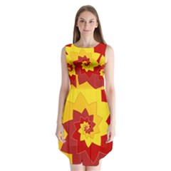 Flower Blossom Spiral Design  Red Yellow Sleeveless Chiffon Dress