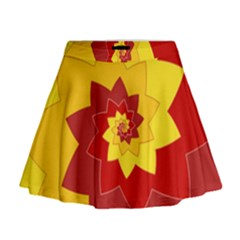 Flower Blossom Spiral Design  Red Yellow Mini Flare Skirt