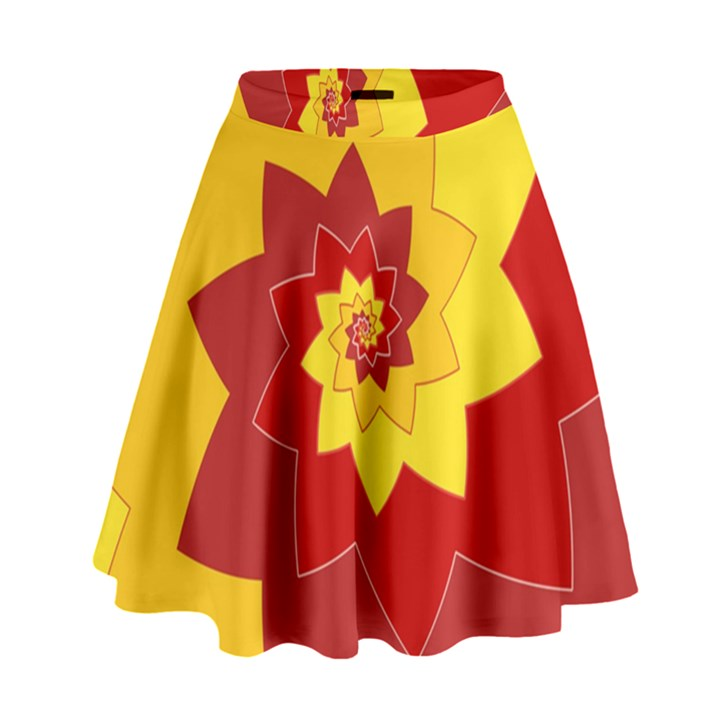 Flower Blossom Spiral Design  Red Yellow High Waist Skirt