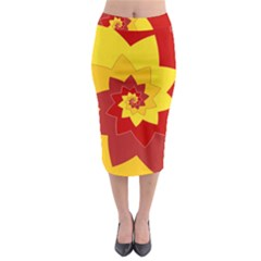 Flower Blossom Spiral Design  Red Yellow Midi Pencil Skirt