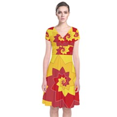Flower Blossom Spiral Design  Red Yellow Short Sleeve Front Wrap Dress