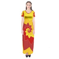 Flower Blossom Spiral Design  Red Yellow Short Sleeve Maxi Dress