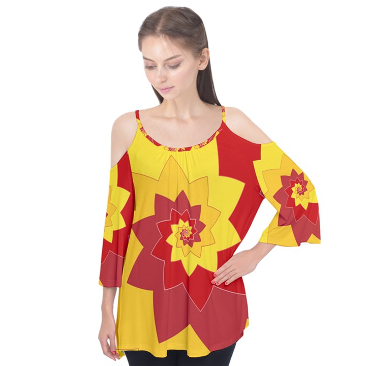Flower Blossom Spiral Design  Red Yellow Flutter Tees