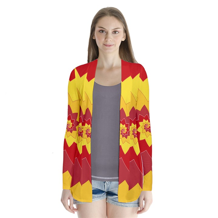 Flower Blossom Spiral Design  Red Yellow Drape Collar Cardigan