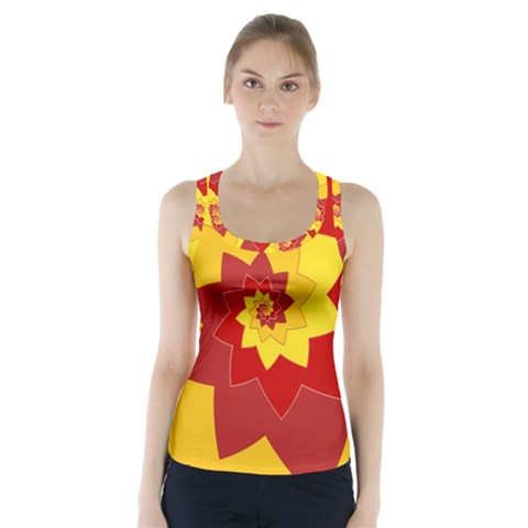Flower Blossom Spiral Design  Red Yellow Racer Back Sports Top