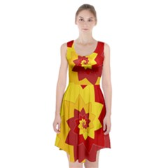 Flower Blossom Spiral Design  Red Yellow Racerback Midi Dress