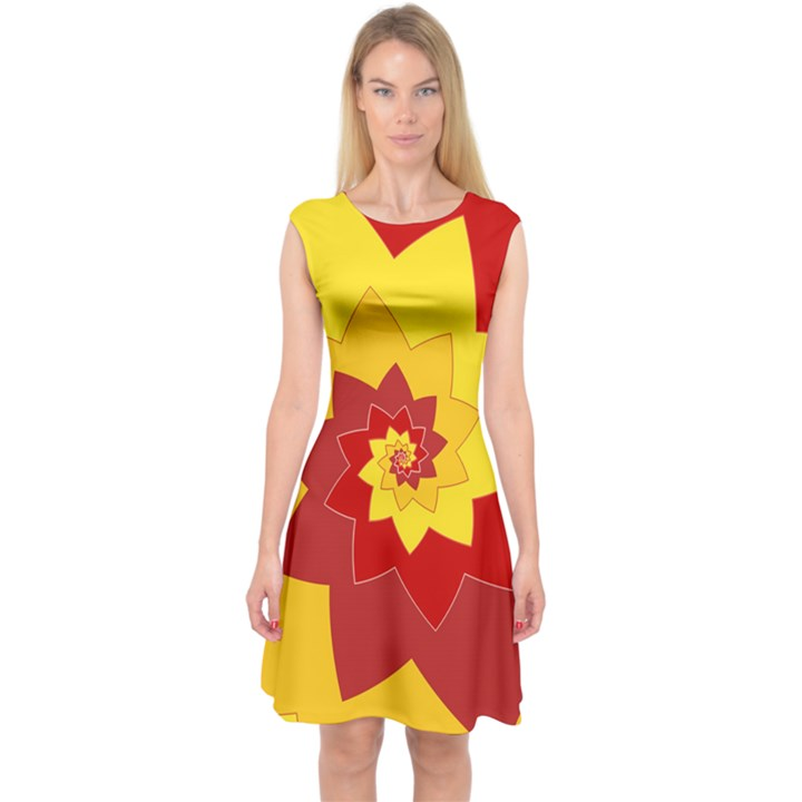 Flower Blossom Spiral Design  Red Yellow Capsleeve Midi Dress