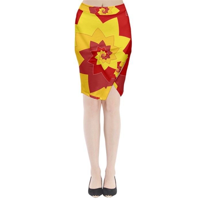 Flower Blossom Spiral Design  Red Yellow Midi Wrap Pencil Skirt