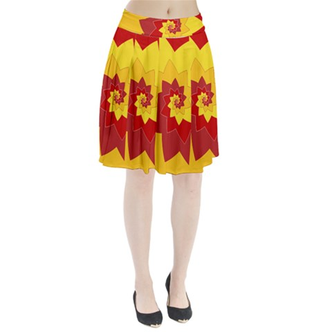Flower Blossom Spiral Design  Red Yellow Pleated Skirt