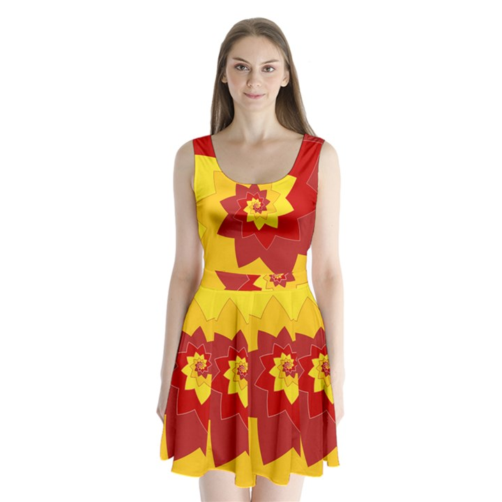 Flower Blossom Spiral Design  Red Yellow Split Back Mini Dress