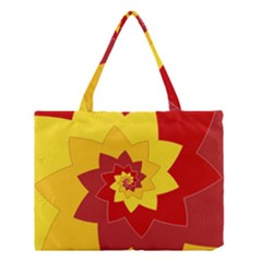 Flower Blossom Spiral Design  Red Yellow Medium Tote Bag