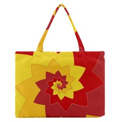Flower Blossom Spiral Design  Red Yellow Medium Zipper Tote Bag