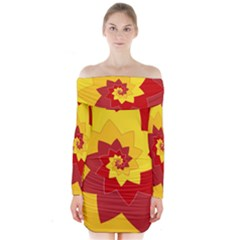 Flower Blossom Spiral Design  Red Yellow Long Sleeve Off Shoulder Dress