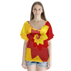 Flower Blossom Spiral Design  Red Yellow Flutter Sleeve Top