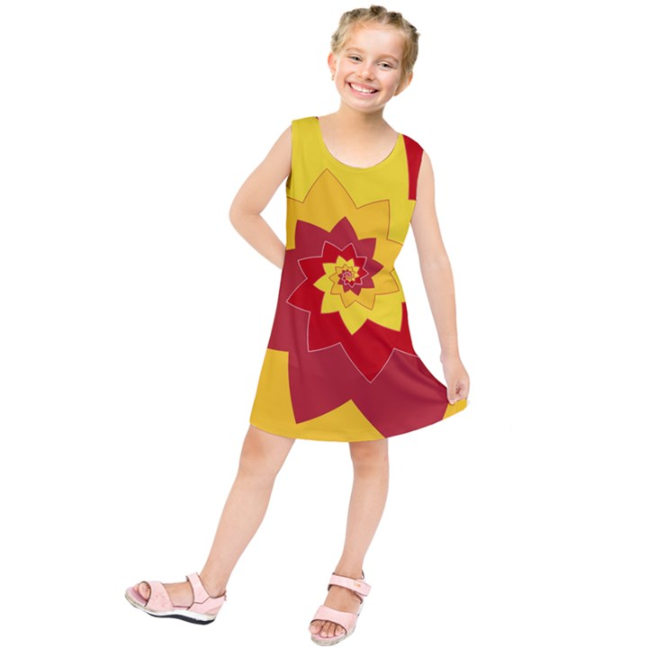 Flower Blossom Spiral Design  Red Yellow Kids  Tunic Dress