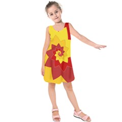 Flower Blossom Spiral Design  Red Yellow Kids  Sleeveless Dress