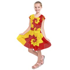 Flower Blossom Spiral Design  Red Yellow Kids  Short Sleeve Dress