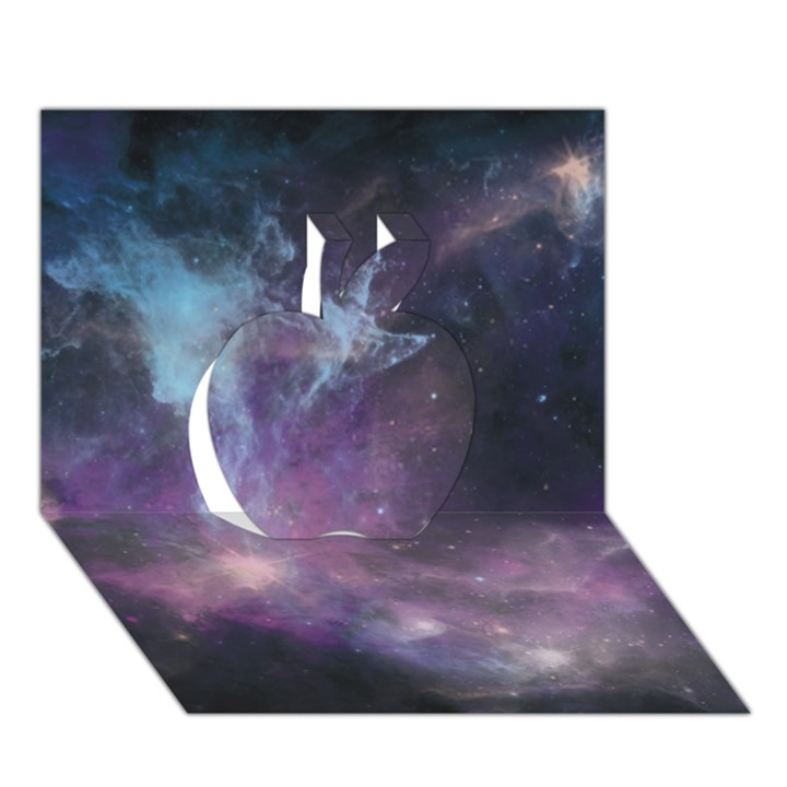 Blue Galaxy  Apple 3D Greeting Card (7x5)