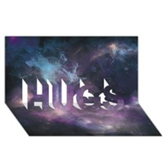 Blue Galaxy  Hugs 3d Greeting Card (8x4)