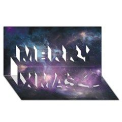 Blue Galaxy  Merry Xmas 3d Greeting Card (8x4)