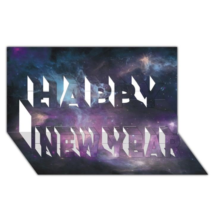 Blue Galaxy  Happy New Year 3D Greeting Card (8x4)